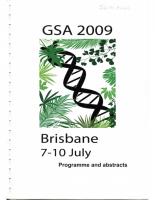 56th Annual Meeting Brisbane – 2009